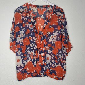 Banana Republic Red Navy Floral Blouse